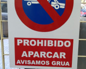 placa 42x29 cms prohibido aparcar
